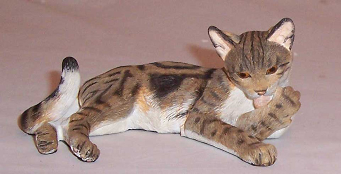 Country Artists Cat Lying On Side Brown Marble Tabby