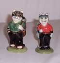 Quail  Golfing Couple Cat Salt and Pepper Set