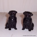 Quail Black Pug Figures pair