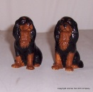 Quail Black and Tan King Charles Spaniel Figures pair