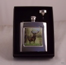 Stag design Square Hip Flask