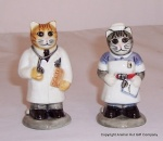 Quail  Doctor and Nurse Cat Salt and Pepper Set